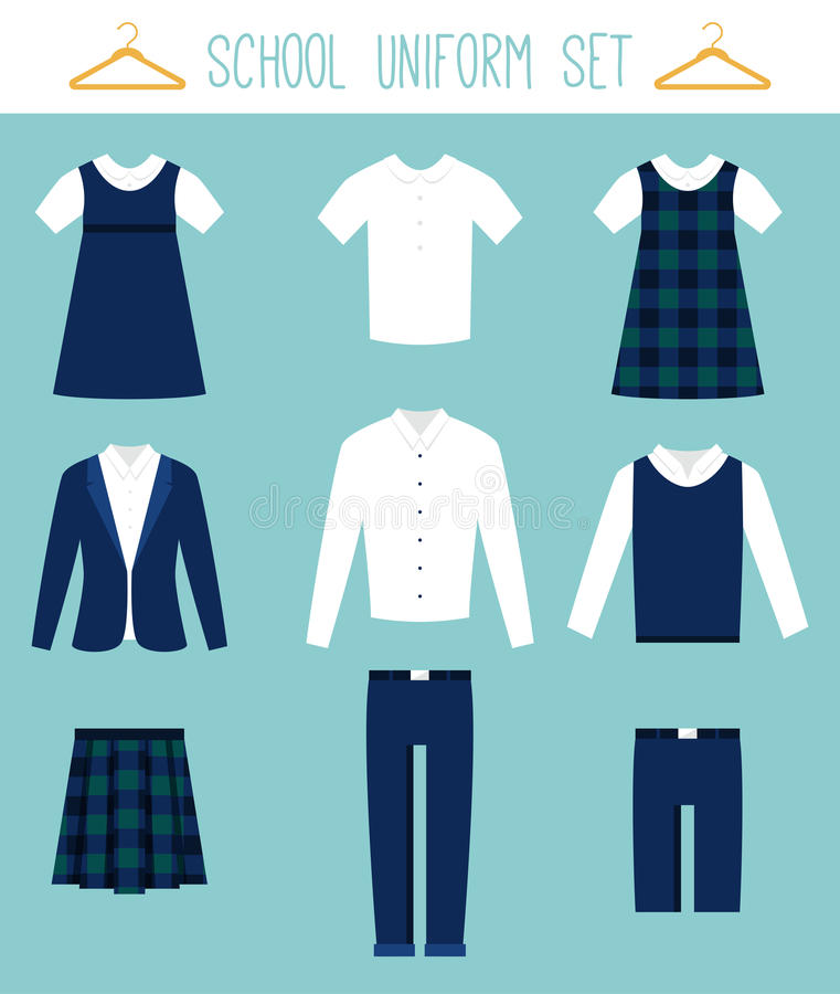 School Uniforms for Children. Kids Clothes Vector Set stock illustration