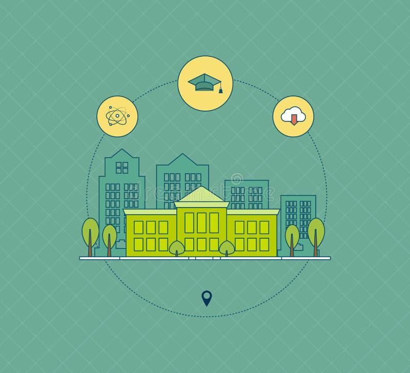 School and university building icon stock illustration