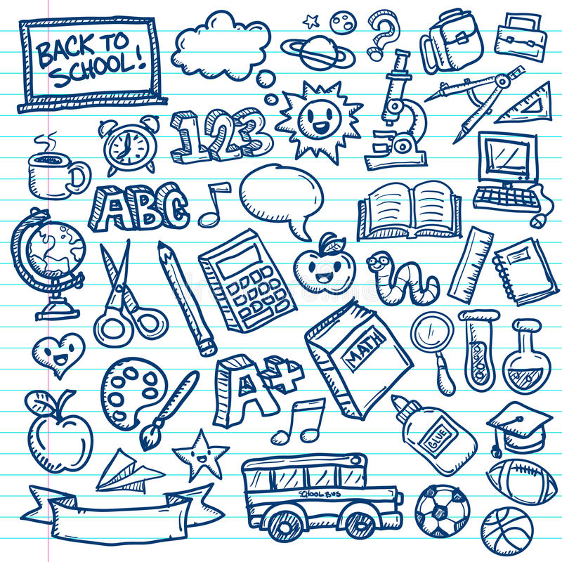 School Vector Doodles. Set of vector freehand drawings of school icons on lined paper background vector illustration