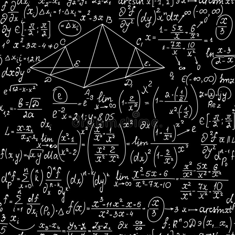 School vector naadloze backround met wiskunde en fysicaformules, met de hand geschreven met krijt op een bord vector illustratie