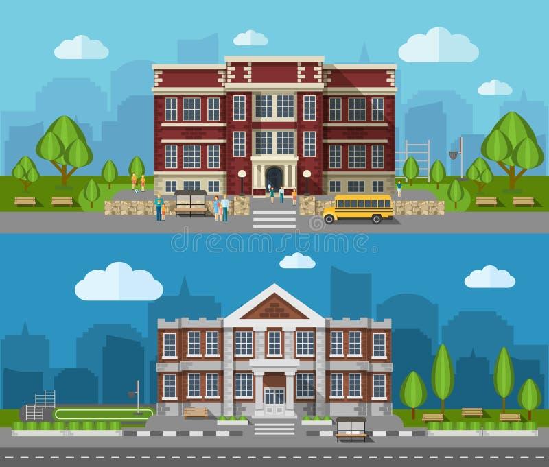 School Vlakke Banner vector illustratie