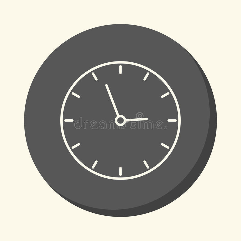 School wall clock, circular line icon with the illusion of volume, an element for your school site or booklet. School wall clock, circular linear icon with the stock illustration