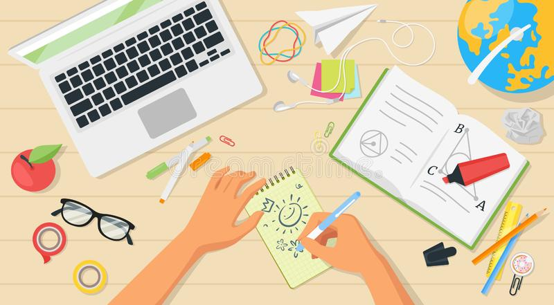 School workplace top view. With hands and many items around. Educational concept stock illustration