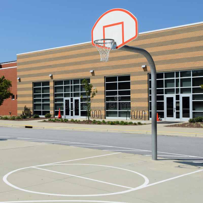School yard basketball court stock images