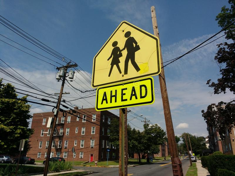 School Zone Ahead Sign royalty free stock image