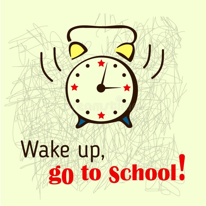 Schoolachtergrond met bellende alarm-klok royalty-vrije illustratie
