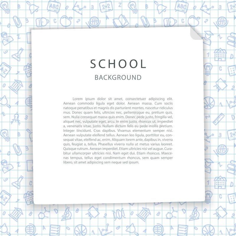 Schoolachtergrond met Geregeld Blad vector illustratie