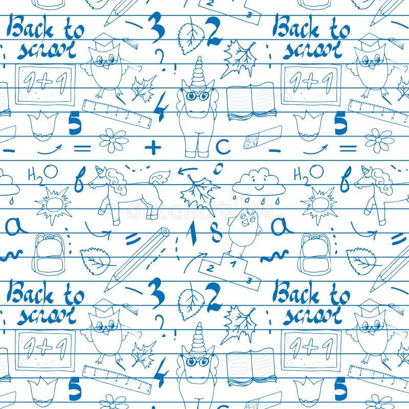 Schoolachtergrond met hand getrokken schoollevering, terug naar School het van letters voorzien in pop-artstijl op bord Terug naa royalty-vrije illustratie
