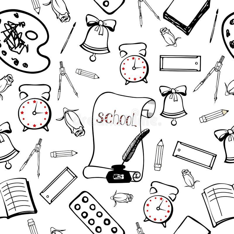 Schoolachtergrond met toebehorenschooljongen Naadloos patroon vector illustratie
