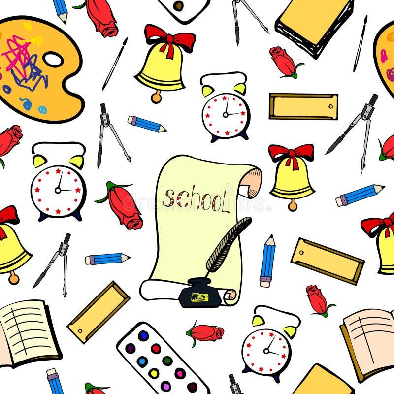 Schoolachtergrond met toebehorenschooljongen Naadloos patroon royalty-vrije illustratie