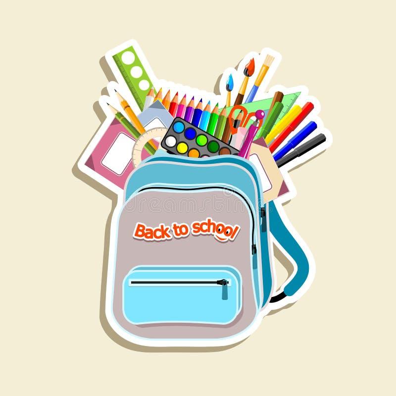 Download Schoolbag stock vector. Image of rubber, protractor, notebooks - 25407742