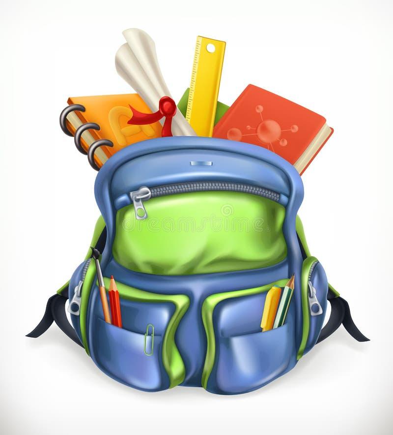 schoolbag Plecak z szkolnymi dostawami, wektorowa ikona ilustracji