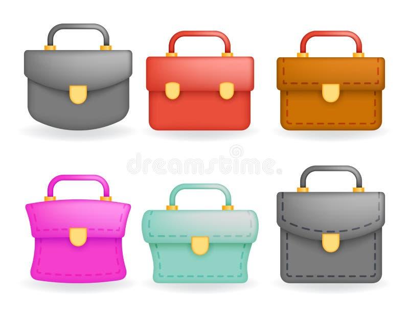 Schoolbag Realistyczne ikony ustawiają edukacja 3d projekta wektoru symbol odizolowywającą ilustrację royalty ilustracja