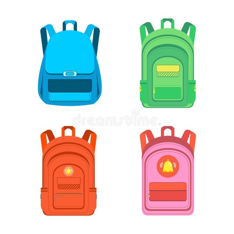 Schoolbag. Satchel. Colored school backpacks set. stock illustration