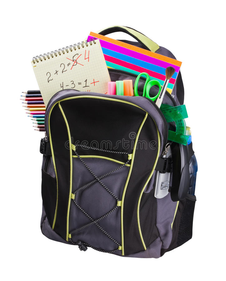 Schoolbag with supplies