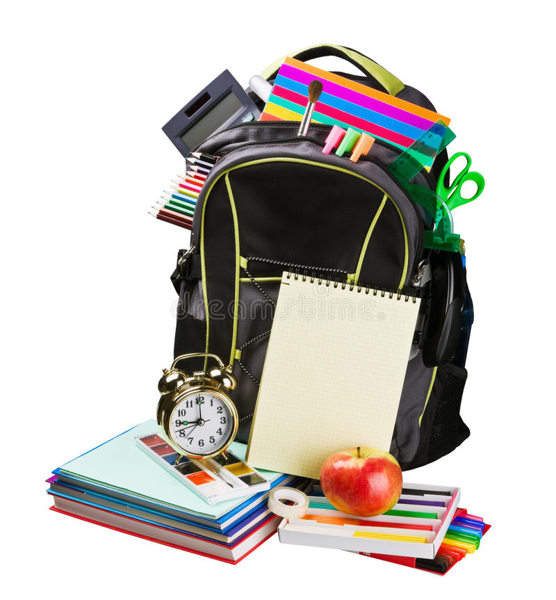 Schoolbag with supplies for education stock photos
