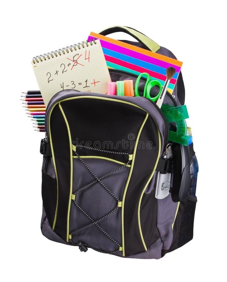 Schoolbag z dostawami obraz stock