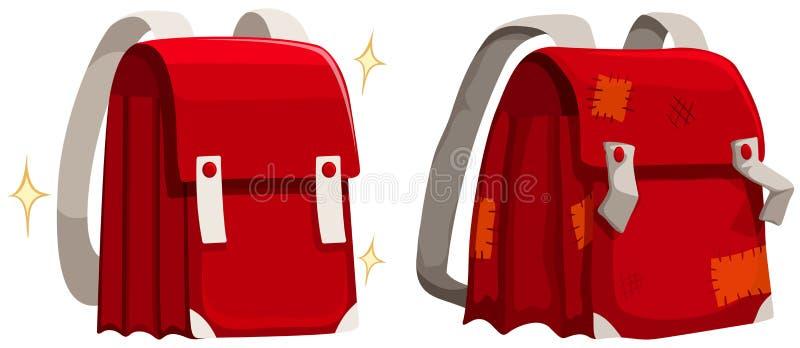 Schoolbags novos e velhos ilustração royalty free
