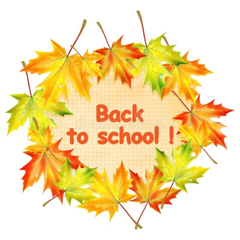 Schoolbanner met de bladeren van de de herfstesdoorn stock illustratie