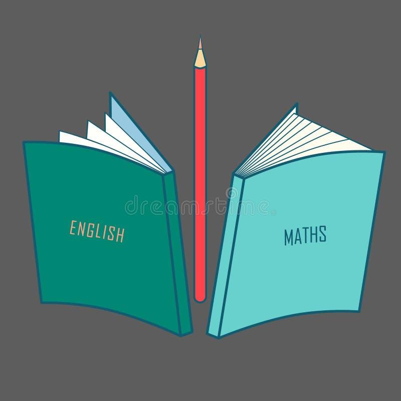 Schoolboeken op het Engels en wiskunde, schoollevering, kantoorbehoeften Vector stock illustratie