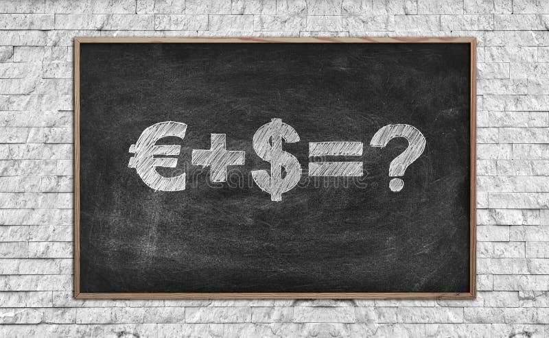 Schoolbord met de formule van het tekeningsgeld stock afbeelding