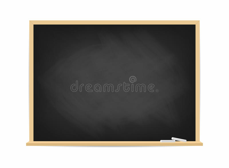 Schoolbord Vuil zwart bord met sporen van krijt die op achtergrond worden geïsoleerd stock illustratie