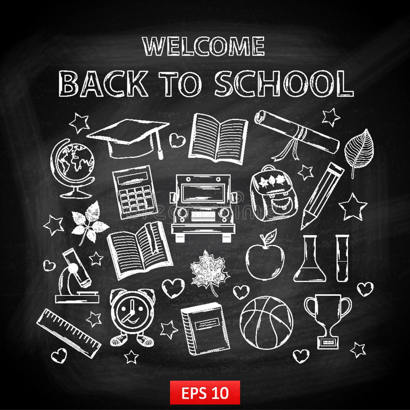 Schoolbordonthaal terug naar school royalty-vrije illustratie