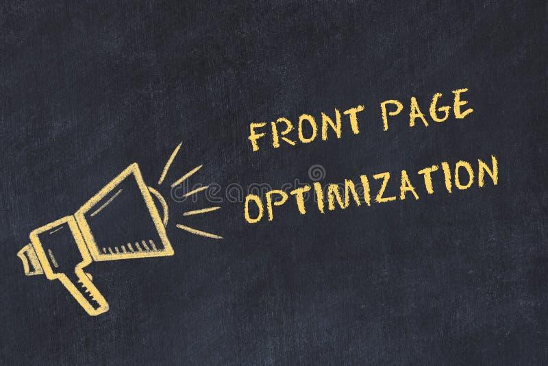 Schoolbordschets met de met de hand geschreven optimalisering van de tekst voorpagina royalty-vrije illustratie