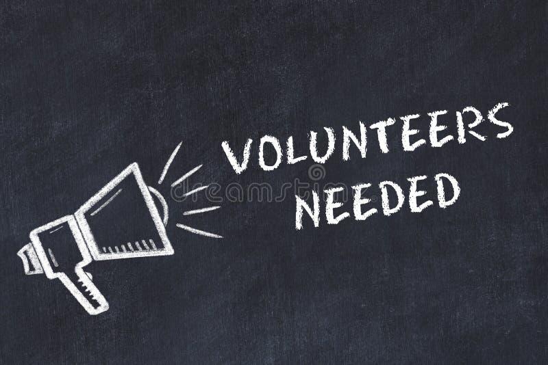 Schoolbordschets met luidspreker en uitdrukkings nodig vrijwilligers stock illustratie
