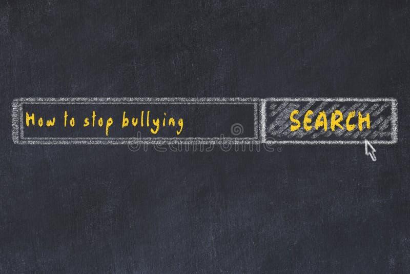 Schoolbordschets van Internet-zoekmachine Het zoeken hoe te ophouden intimiderend vector illustratie