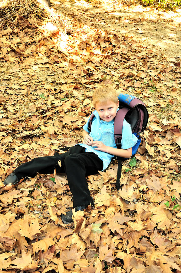 schoolboy πτώσης χρόνος στοκ φωτογραφίες με δικαίωμα ελεύθερης χρήσης