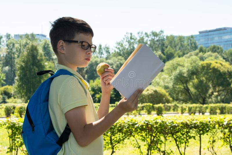 A schoolboy with a backpack on his back is walking down the street and reading a book stock photography