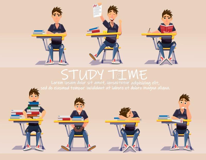 Schoolboy behind School Desk Banner Cartoon Vector vector illustration