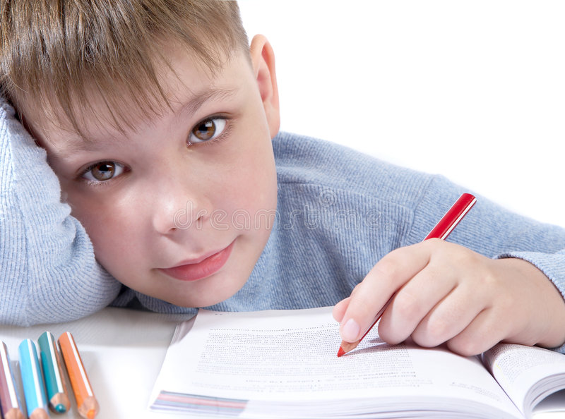 The schoolboy with the book royalty free stock photo