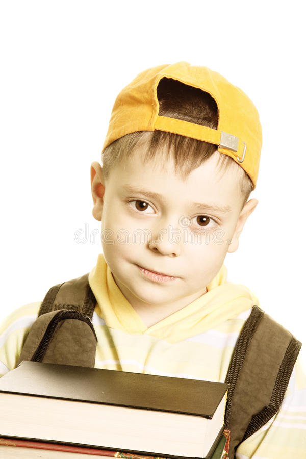 Schoolboy with books closeup royalty free stock images