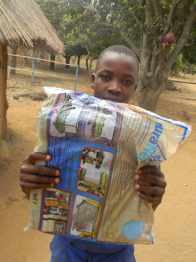 Schoolboy carrying mosquito net donated by UNICEF. Chibero,Zimbabwe, September 3 2015.A boy carrying a mosquoito net donated to children by UNICEF. Malaria is royalty free stock image