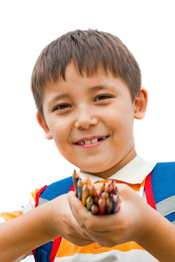 Schoolboy With Colored Pencils Royalty Free Stock Photo