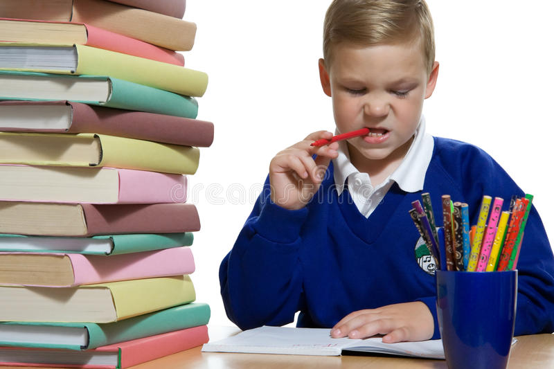 Download Schoolboy at the desk stock photo. Image of notebook - 15943778