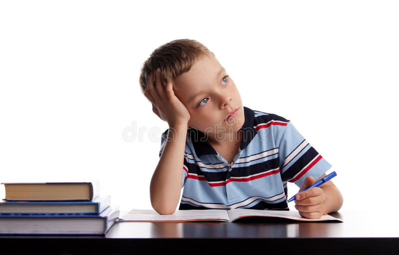 Download Schoolboy does lessons stock photo. Image of writing, white - 5704506