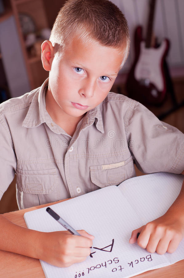 Schoolboy Doing His Homework Royalty Free Stock Photos