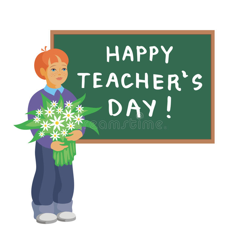 """Schoolboy with flowers. Boy with a bouquet standing near school blackboard with the words """"Happy teacher's day royalty free illustration"""