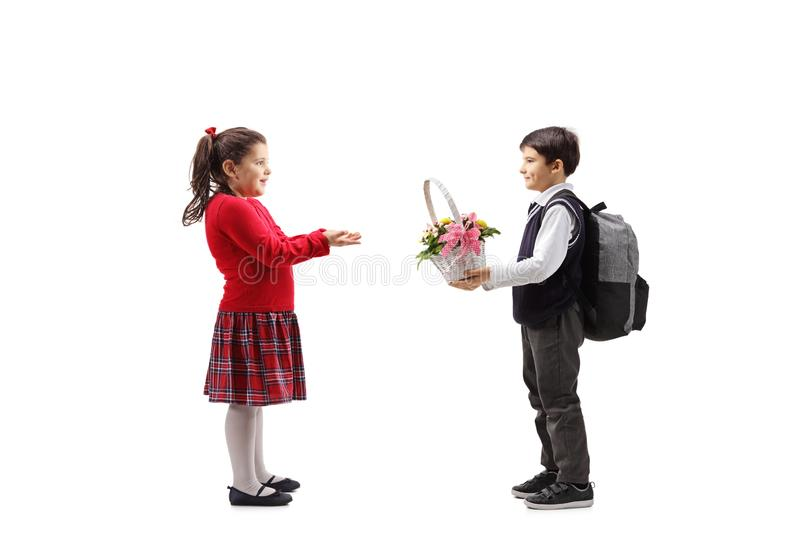Schoolboy giving a basket with flowers to a little girl royalty free stock images