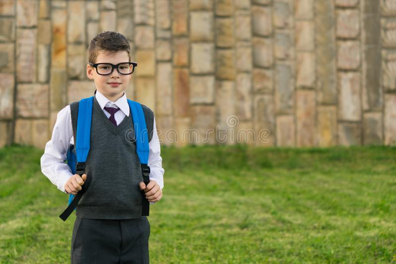 Schoolboy in glasses stands with a backpack on the background of grass royalty free stock image