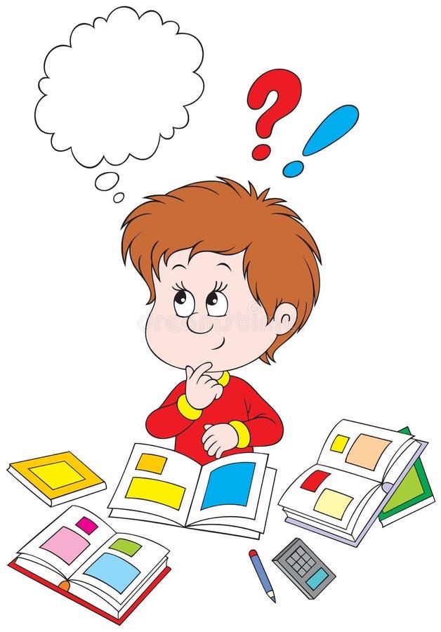 Schoolboy at homework. Schoolboy doing his homework Vector clip-art / funny character for your school design stock illustration