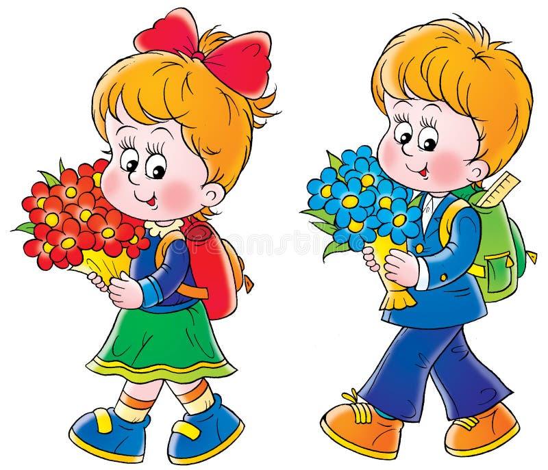Schoolboy and schoolgirl vector illustration