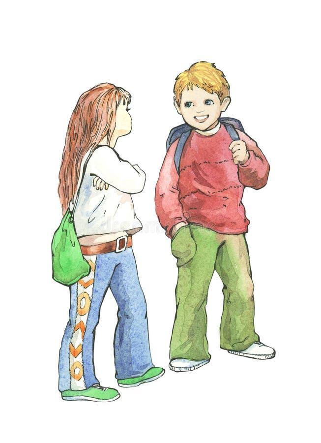 Download Schoolboy and schoolgirl. stock illustration. Image of happy - 5363777