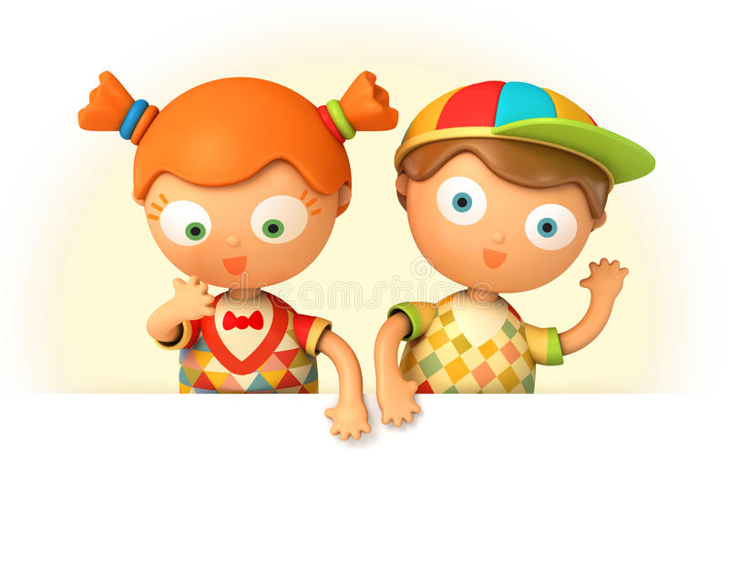 Schoolboy and schoolgirl holding blank board. Funny puppet schoolboy and schoolgirl holding blank board. on white background. 3d render royalty free illustration