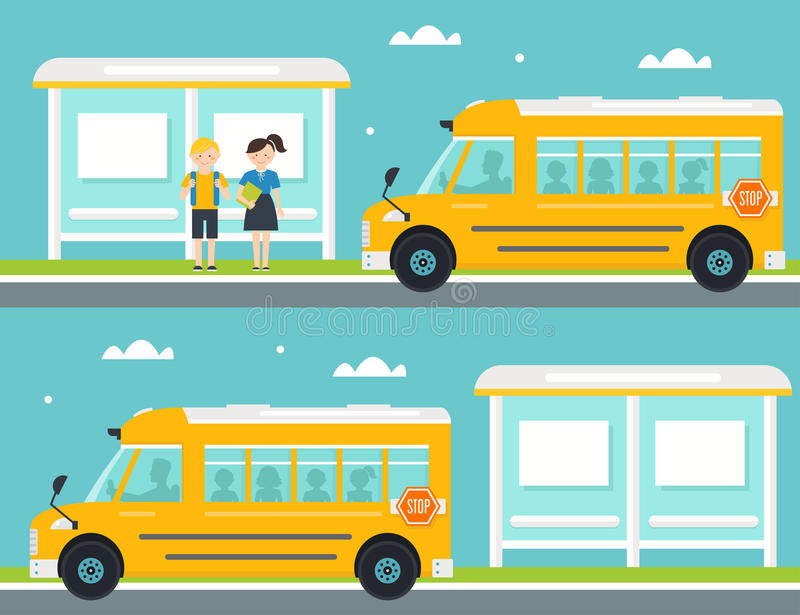 Schoolboy and Schoolgirl Waiting for School Bus at Bus Stop. School Bus Leaving Bus Stop stock illustration