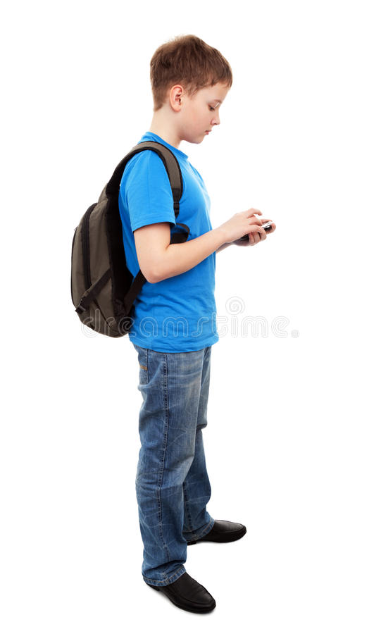 Download Boy Send Text Message With Mobile Phone Stock Photo - Image: 30255708
