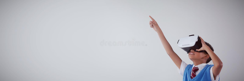 Schoolboy using virtual reality headset vector illustration